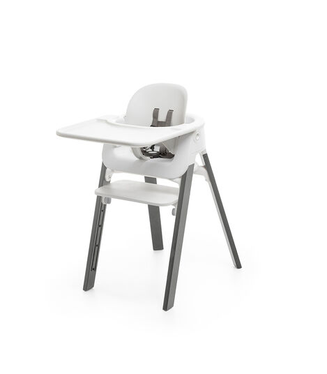 Stokke® Steps™ Chair White Seat Storm Grey Legs (stokke.com), Storm Grey, mainview view 5