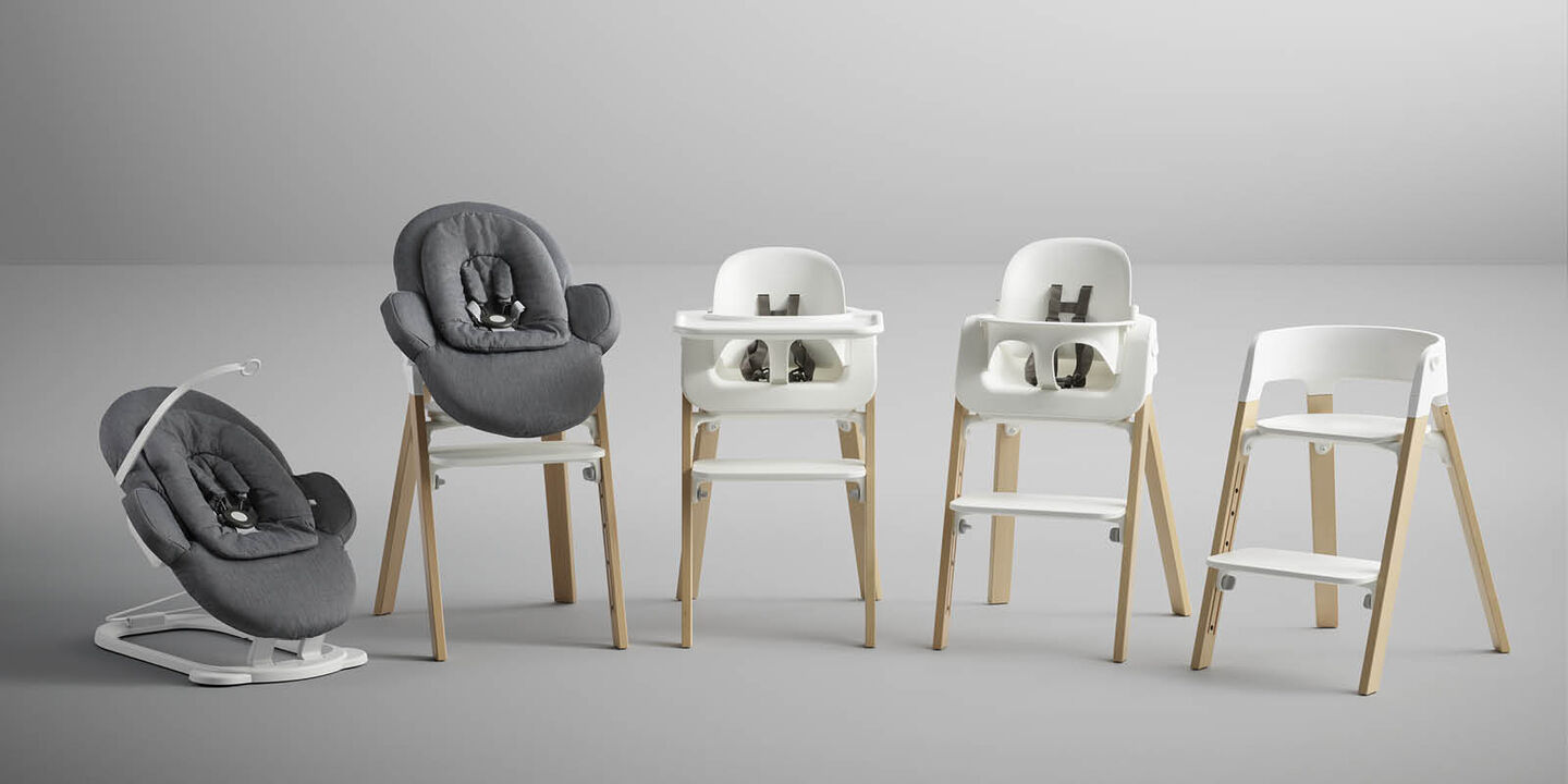 Stokke® Steps™ Chair Natural Legs with White, , emotional1 view 1