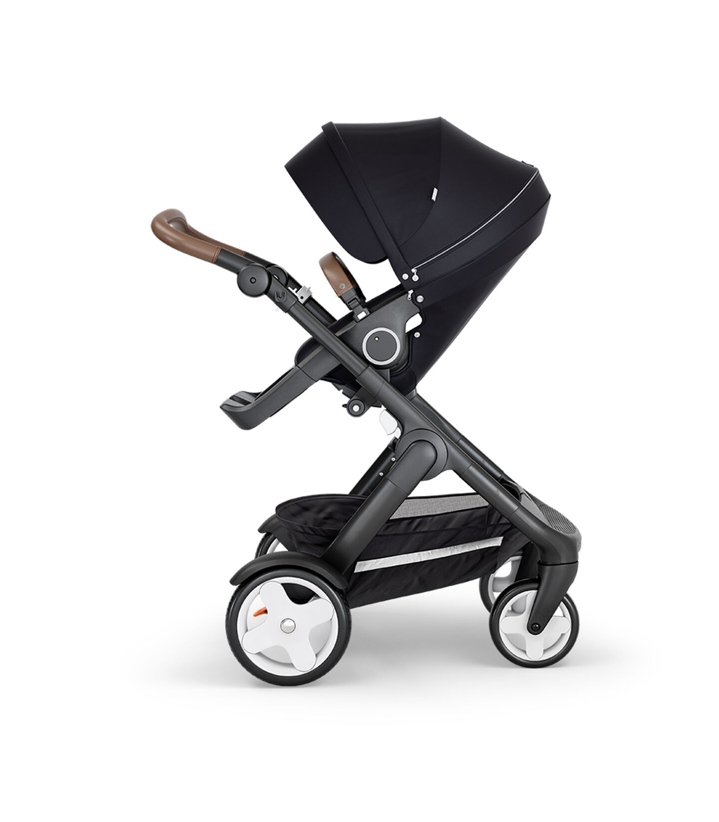 Stokke® Trailz™ with Black Chassis, Brown Leatherette and Classic Wheels. Stokke® Stroller Seat, Black.