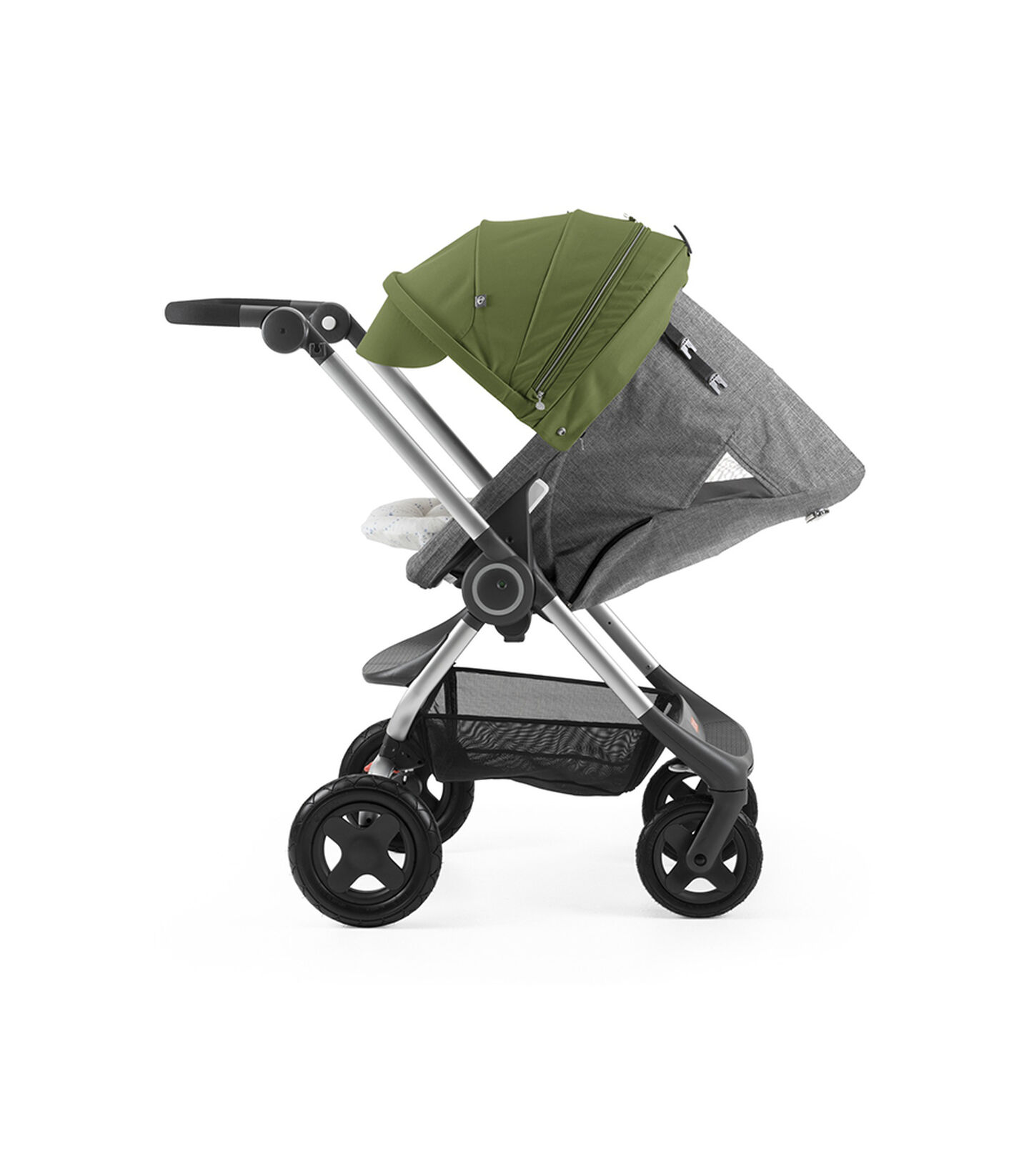 Stokke® Scoot™ with Black Melange seat and Green Canopy. Parent Facing. Sleep position.