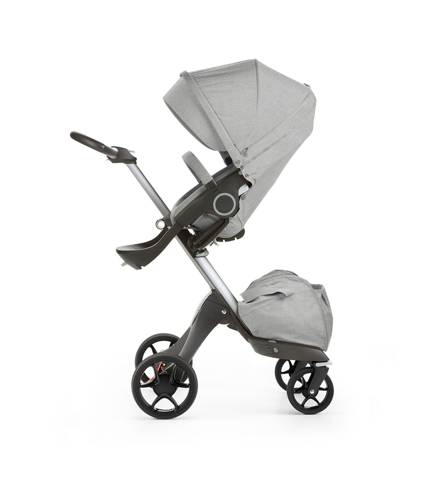 Stokke® Xplory® with Stokke® Stroller Seat, Grey Melange. New wheels 2016.