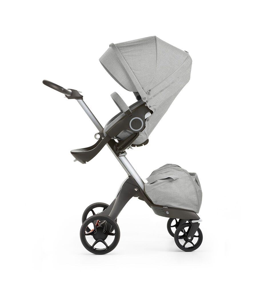 Stokke® Xplory® with Stokke® Stroller Seat, Grey Melange. New wheels 2016.