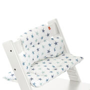 Tripp Trapp® White with Aqua Star cushion. Detail.