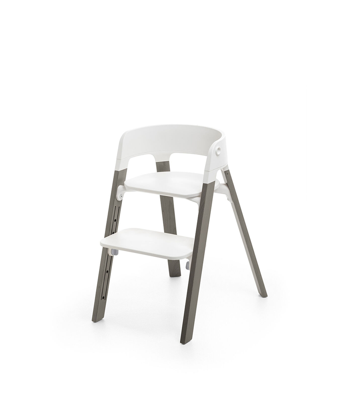 Stokke® Steps™ Hazy Grey  with white seat and footrest in high position. view 2