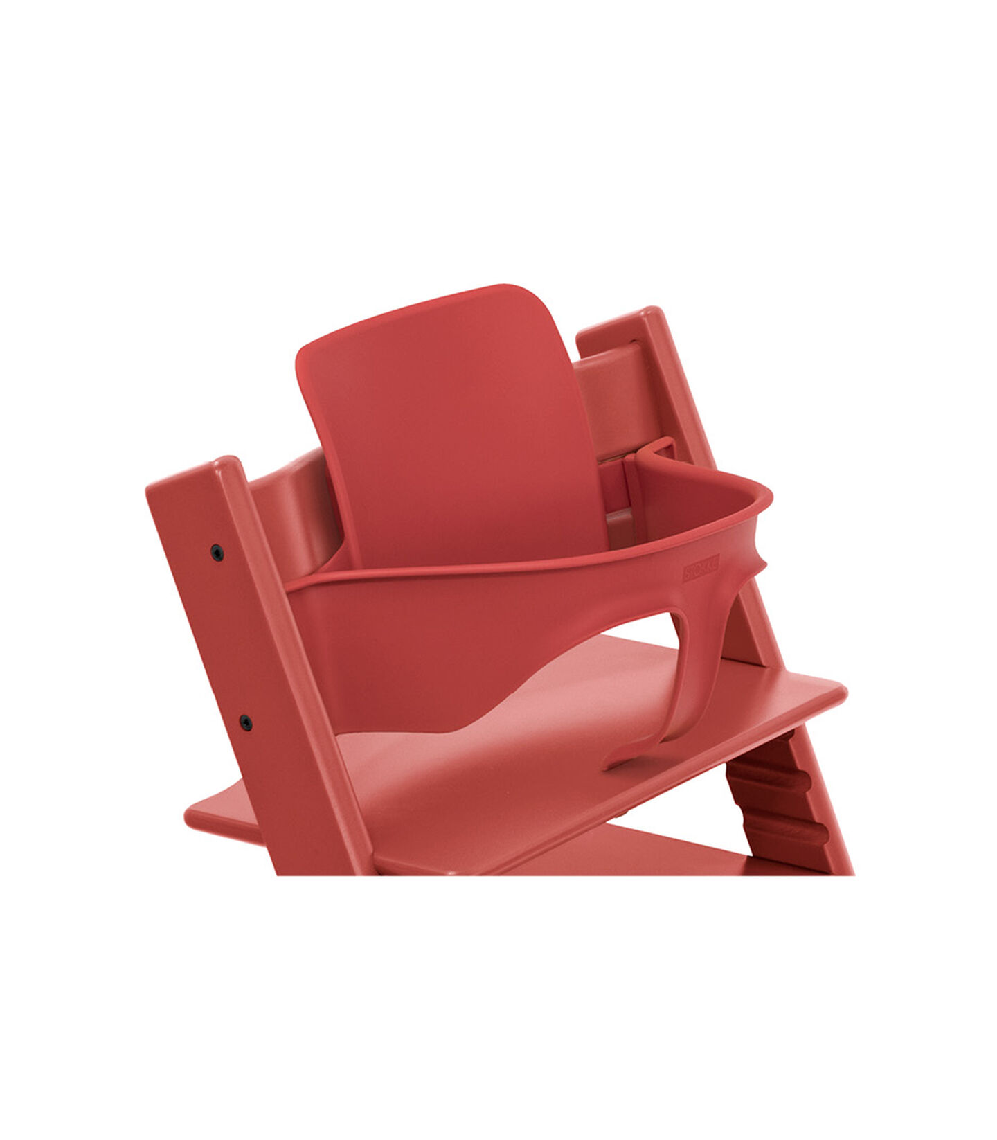 Tripp Trapp® chair Warm Red, Beech Wood, with Baby Set. Close-up. view 2