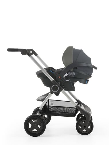 Stokke® iZi Go™ X1, Black Melange and Stokke® Scoot™ chassis.
