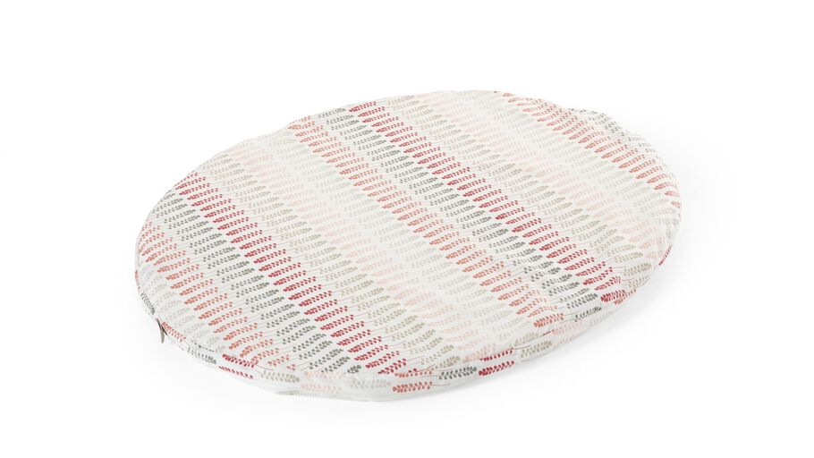Stokke® Textiles. Mini Fitted Sheet Coral Straw. US version.
