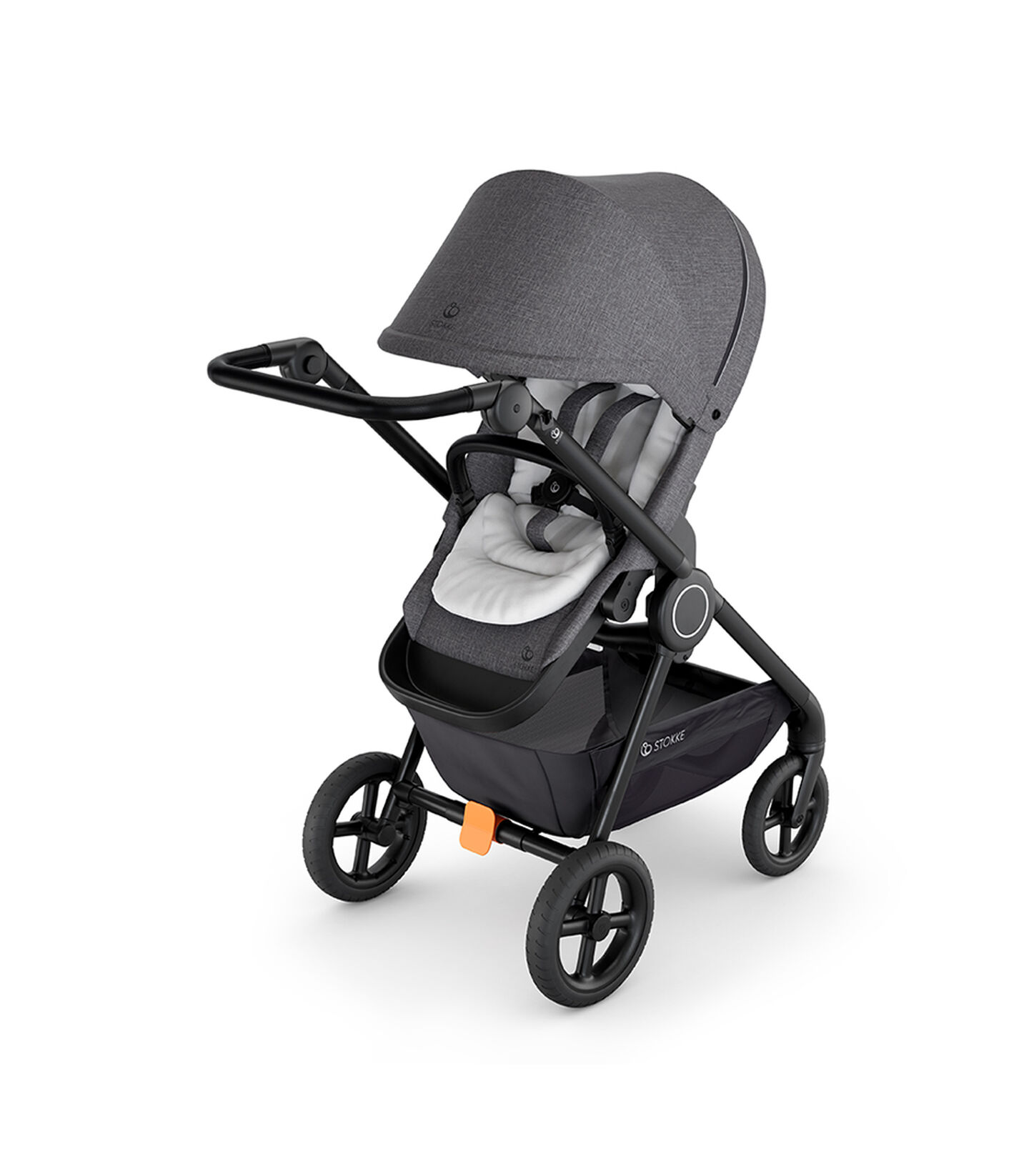 Stokke® Beat™ with Black Melange Seat and Stokke® Stroller Infant Insert White. view 2