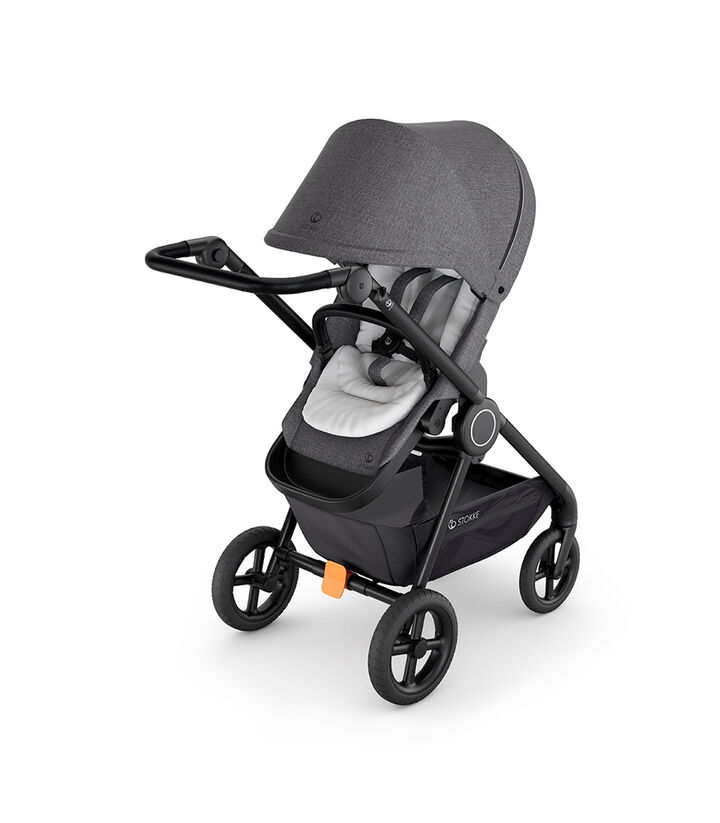 Stokke® Beat™ with Black Melange Seat and Stokke® Stroller Infant Insert White. view 1