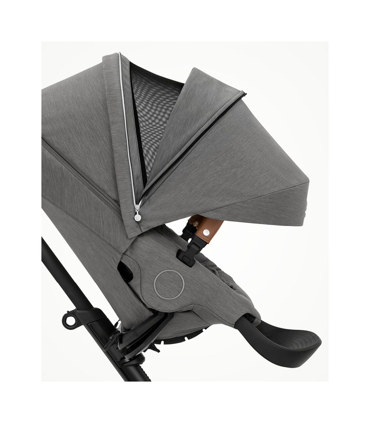 Stokke® Xplory® X Modern Grey Stroller with Seat Forward Facing.  Extended Canopy Open . view 3