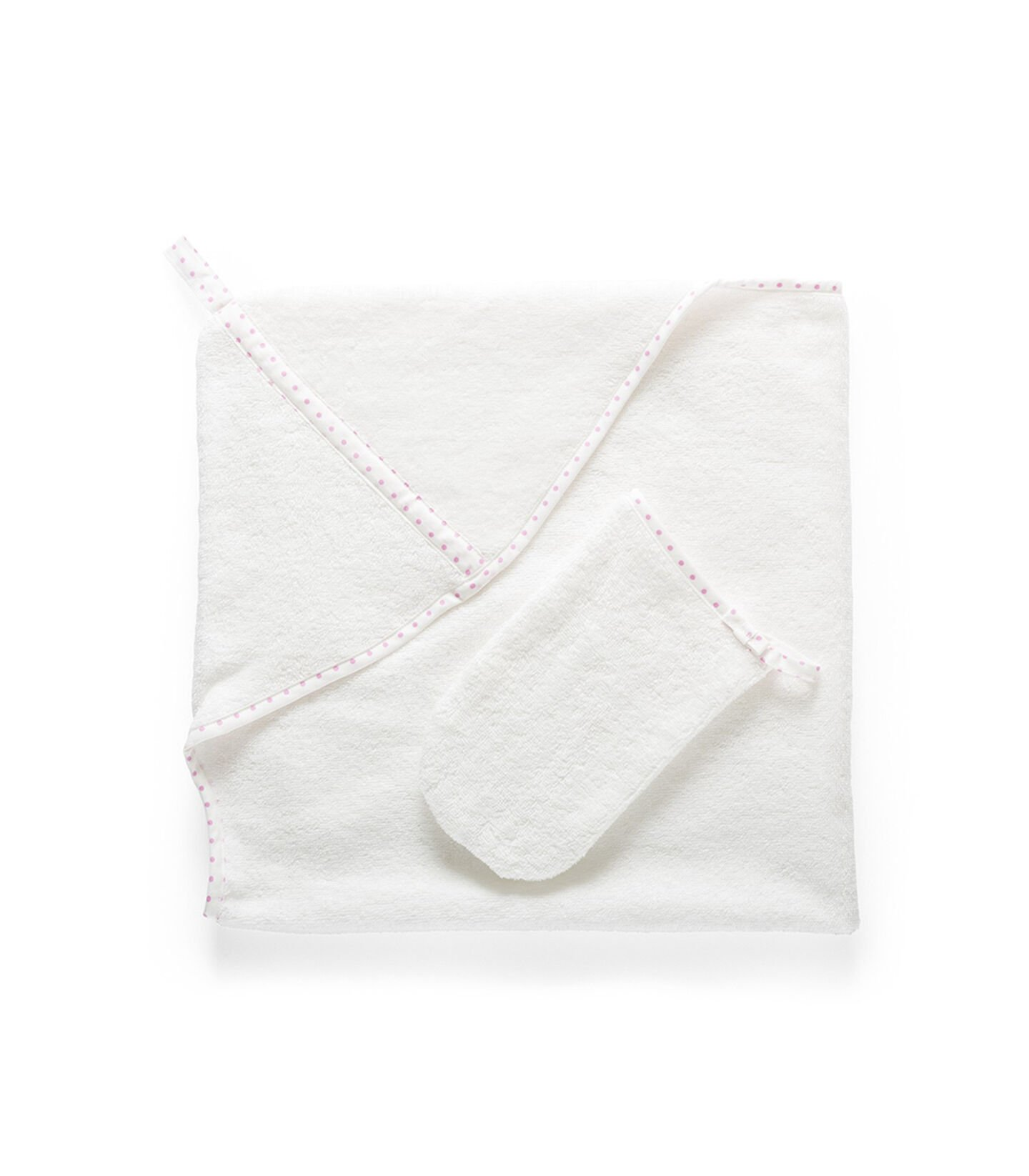 Stokke® Textiles. Hooded Towel, Pink Dots. Detail.
