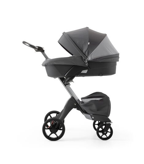 Stokke® Xplory® Silver Chassis and Carry Cot. Athleisure Grey.