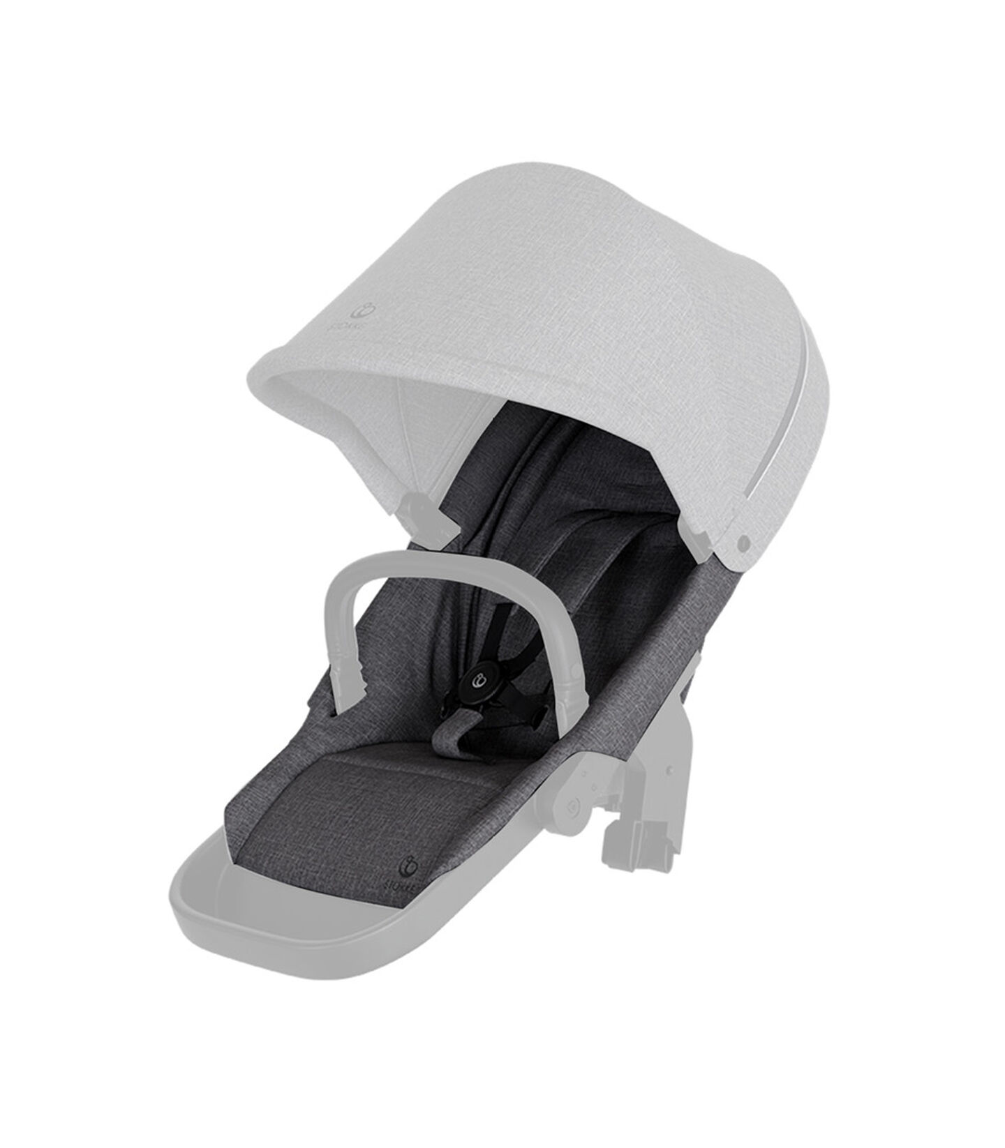 Stokke® Beat seat textile BlackMel wo Can Harness Shpg Baske, Negro Melange, mainview