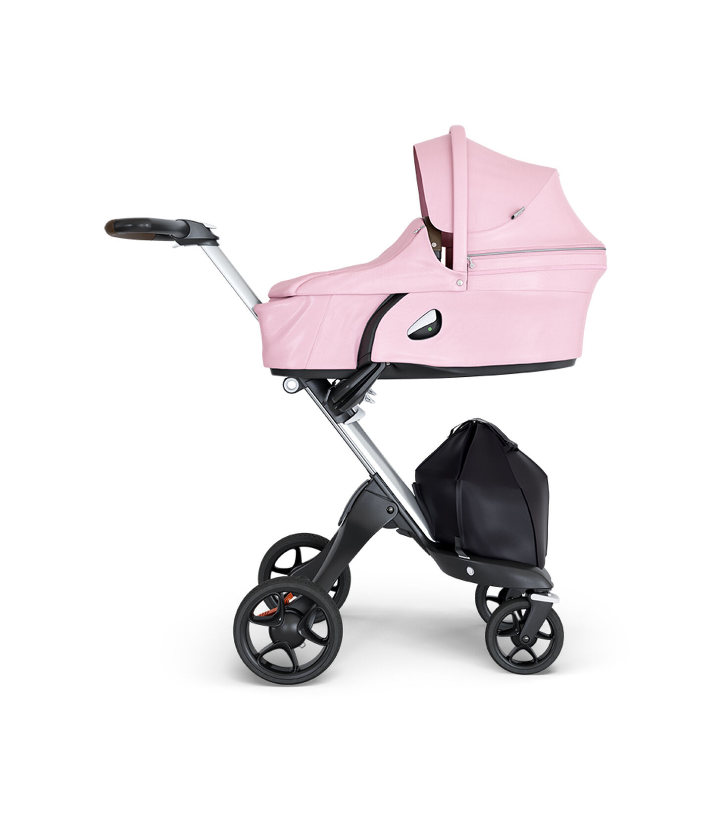 Stokke® Xplory® wtih Silver Chassis and Leatherette Brown handle. Stokke® Stroller Carry Cot Lotus Pink.