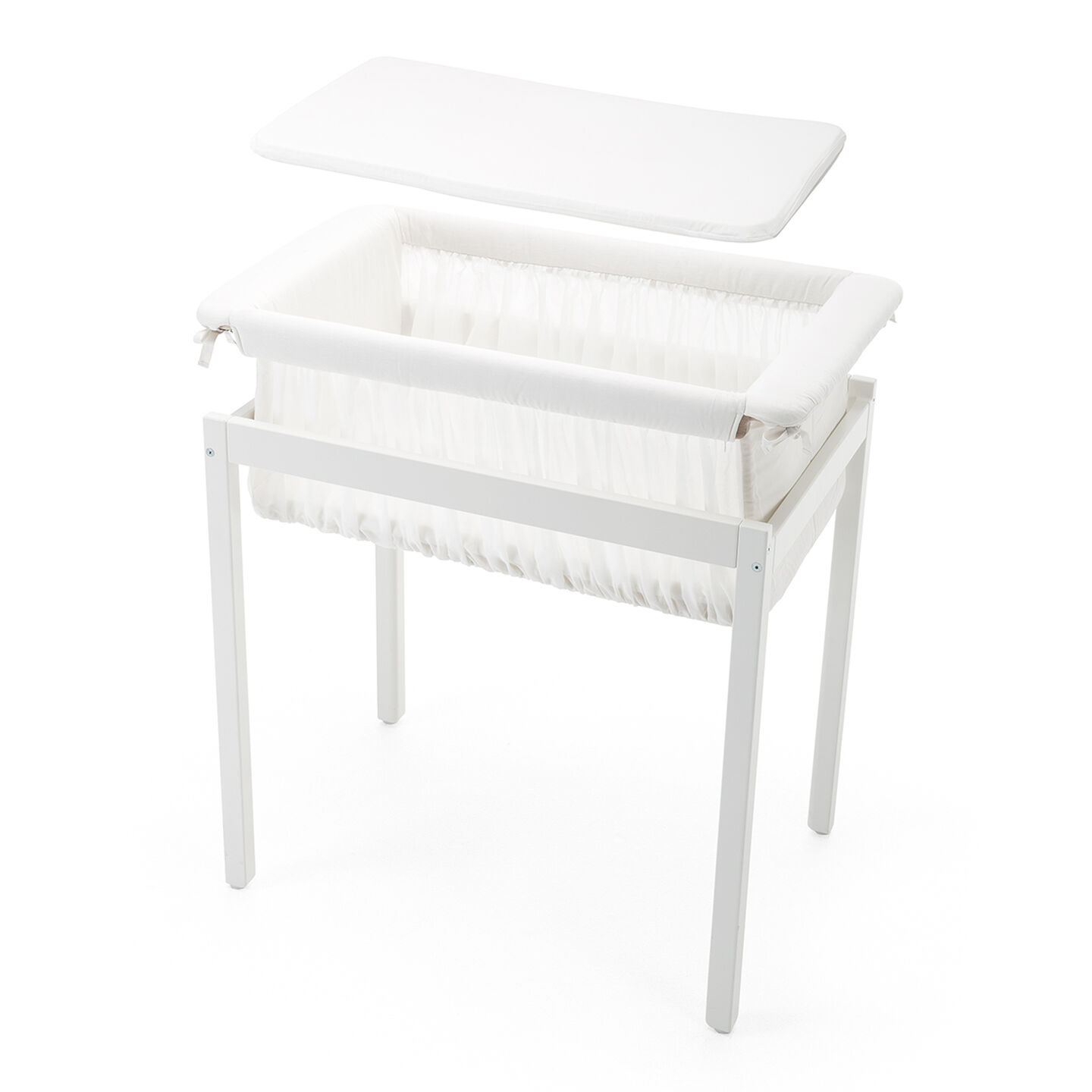 Cradle, Cradle Stand, Mattress, White