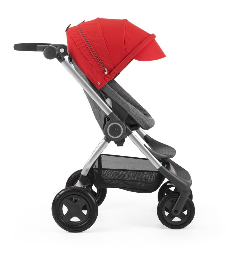 Stokke® Scoot™ Black Melange with Red Canopy. Forward facing, active position.