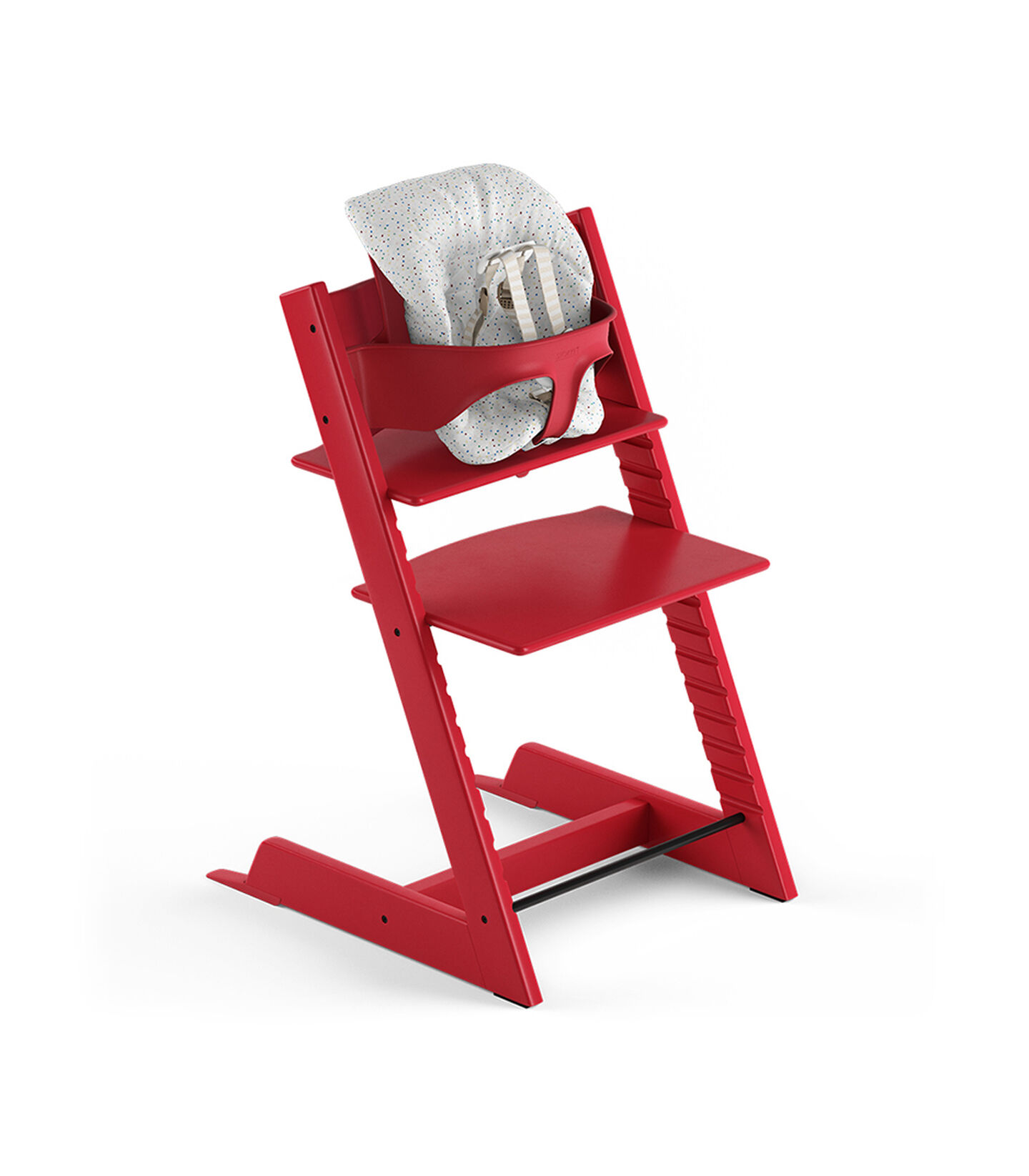Tripp Trapp® Red, Beech. With Tripp Trapp® Baby Set and Baby Cushion Soft Sprinkle. US version with Harness.