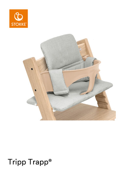 Tripp Trapp® chair Oak Natural, with Baby Set and Classic Cushion Nordic Grey. view 9