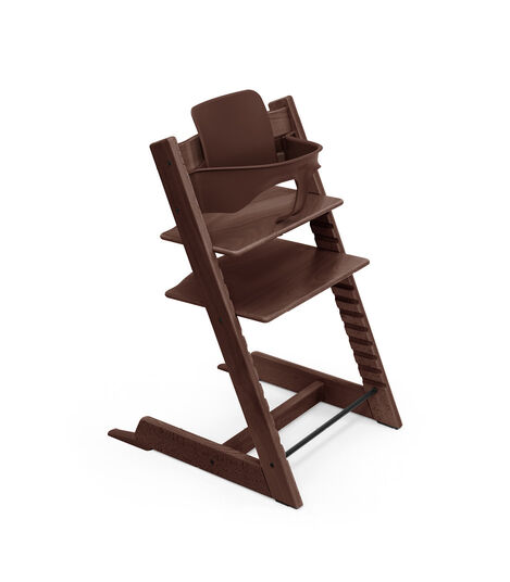 Tripp Trapp® Chair Walnut Brown, Beech, with Baby Set. 3D rendering.