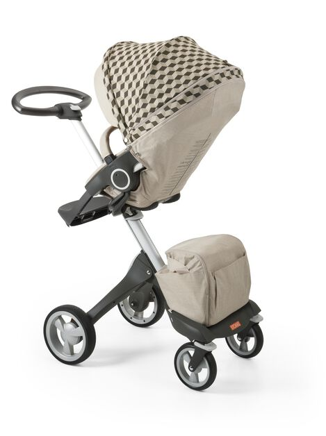Stokke® Stroller Seat with Style Kit Beige Cube and Stokke® Xploy® chassis, Beige Melange.