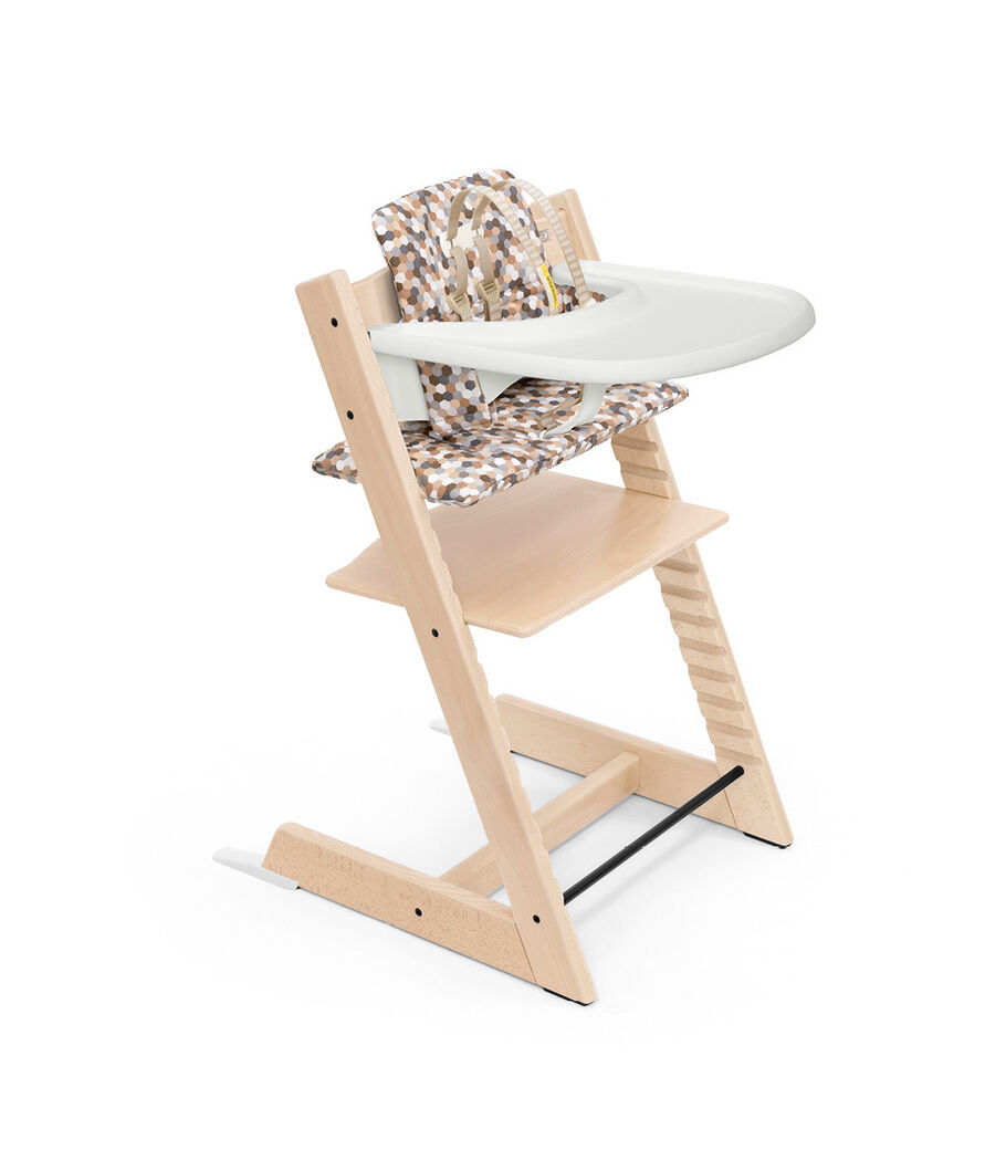 Tripp Trapp® Bundle. Chair Natural, Baby Set White with Tray White and Classic Cushion Honeycom Calm. US version.