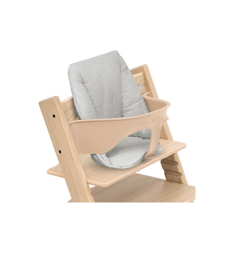 Tripp Trapp® chair Oak Natural, with Baby Set and Baby Cushion Nordic Grey. view 2