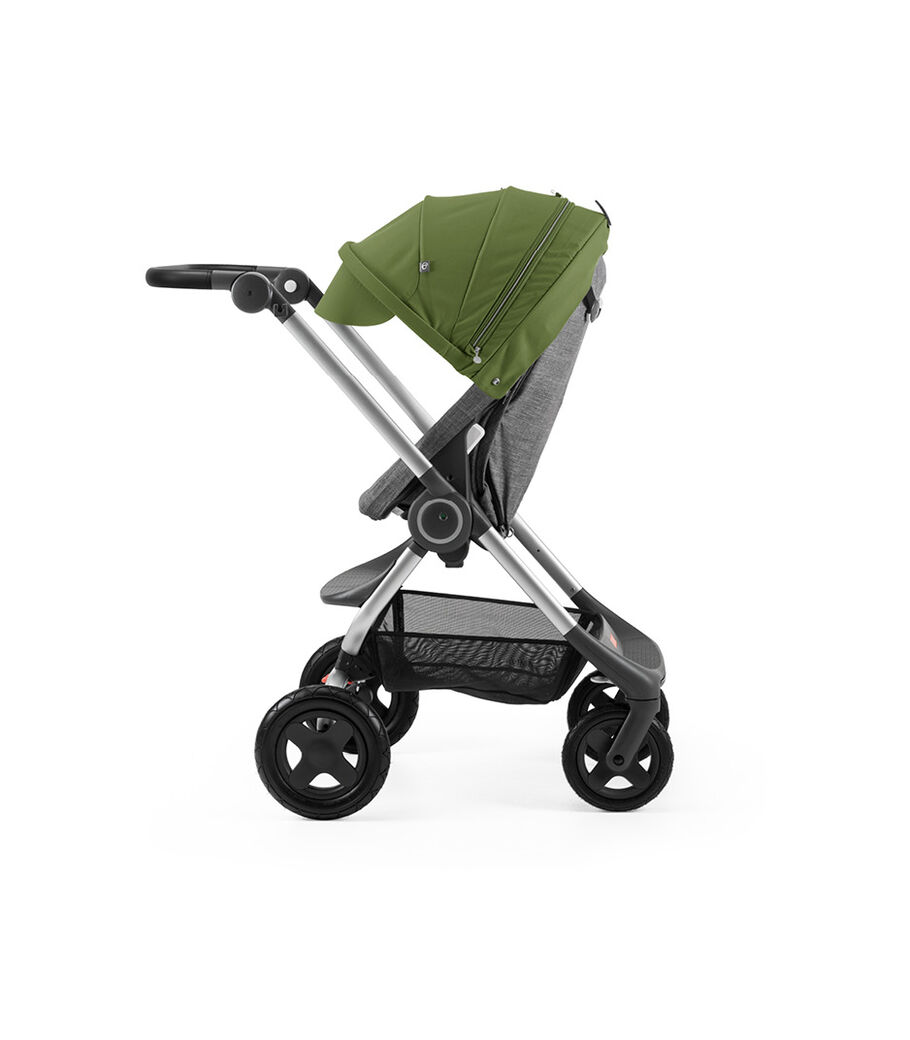 Stokke® Scoot™ Black Melange with Green Canopy. Leatherette handle. Parent facing, active position.