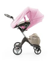 Stokke® Xplory® with Stokke® Stroller Seat and Scribble Peony Pink Summer Kit.