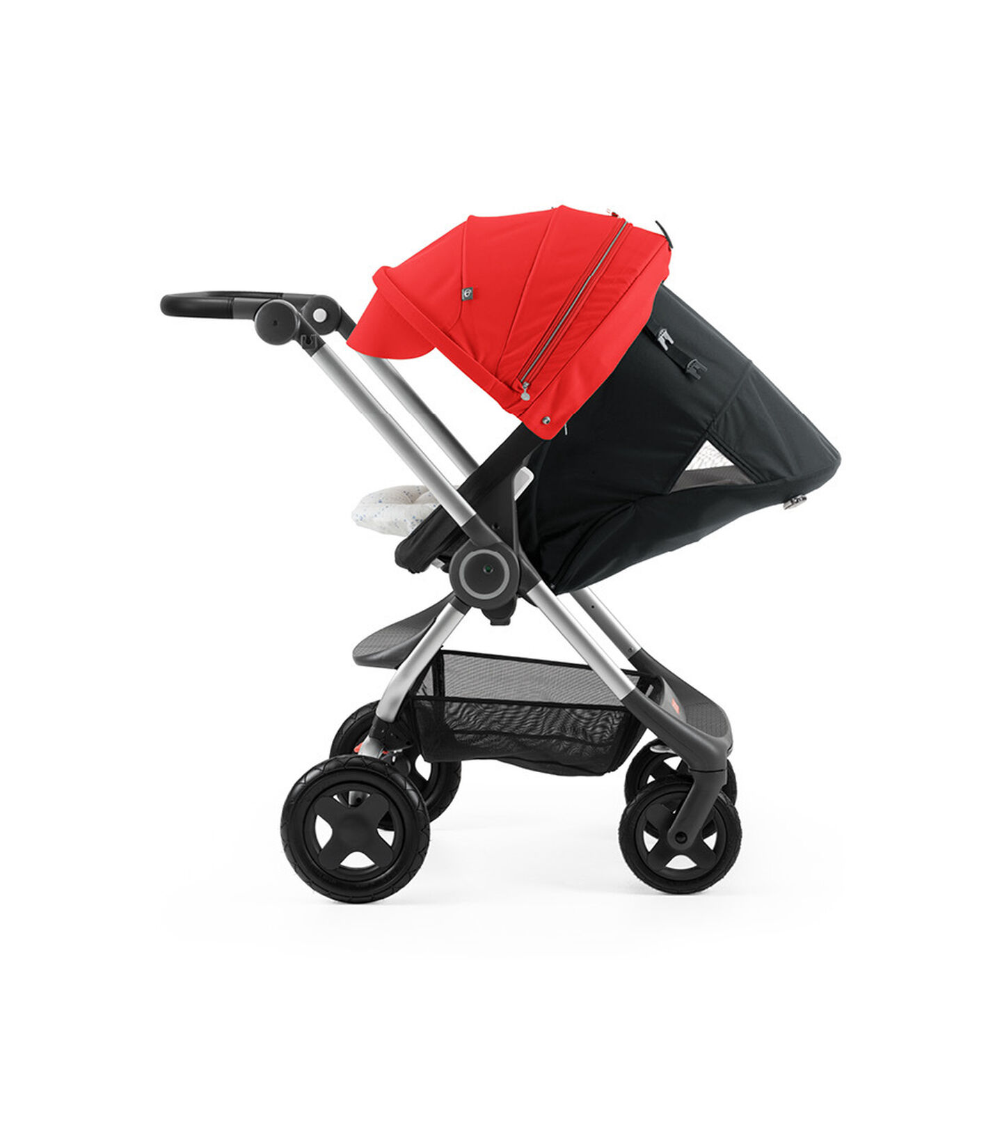 Stokke® Scoot™ with Black seat and Red Canopy. Parent Facing. Sleep position.