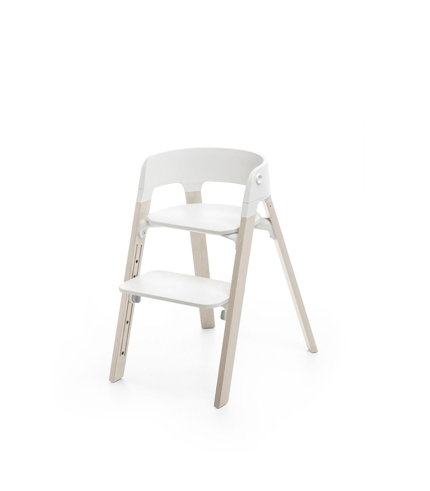 Stokke® Steps™ Chair White Seat Whitewash Legs, Whitewash, mainview view 1