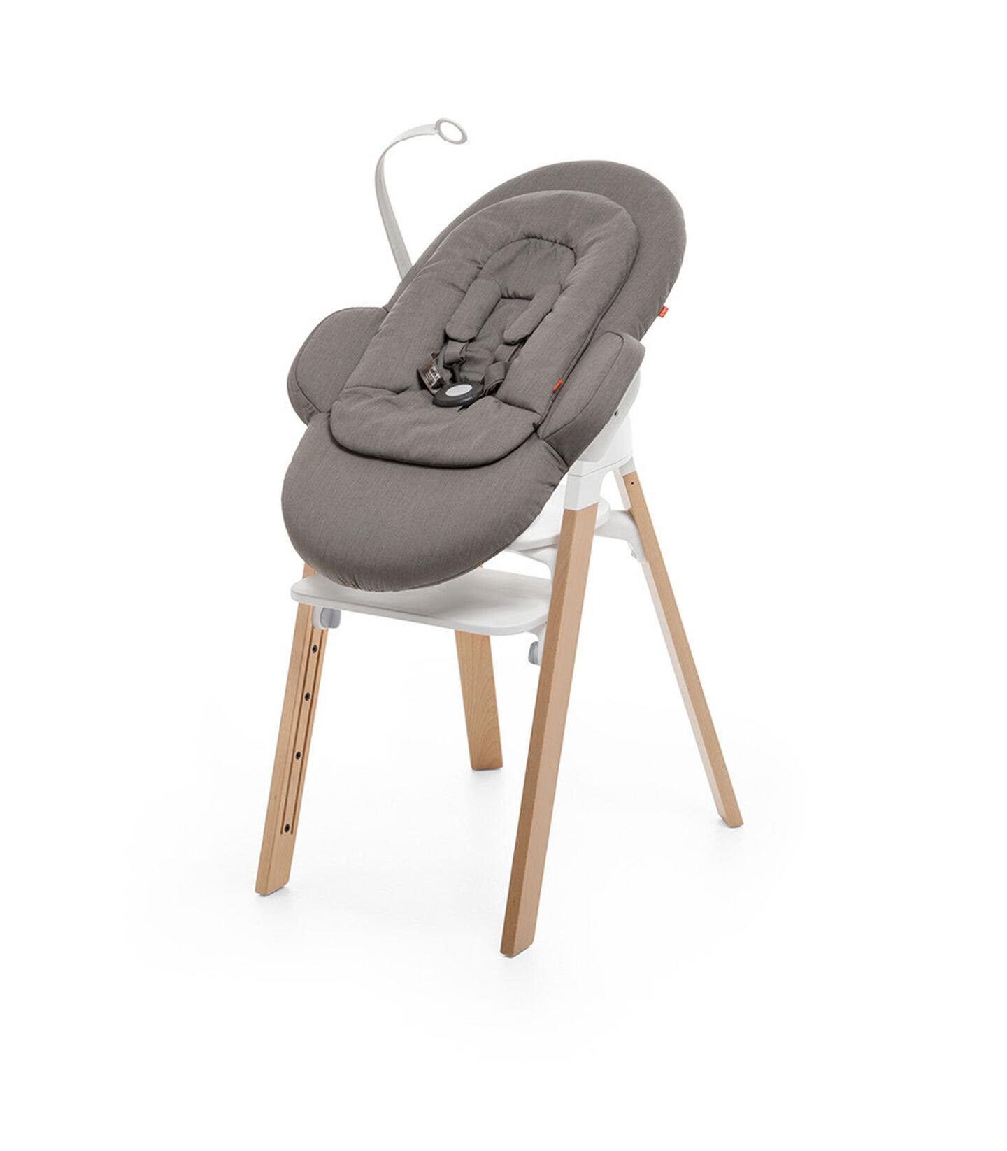 "Stokke® Steps"" Chair, Beech Natural, with Stokke® Steps™ Newborn Set, Greige."