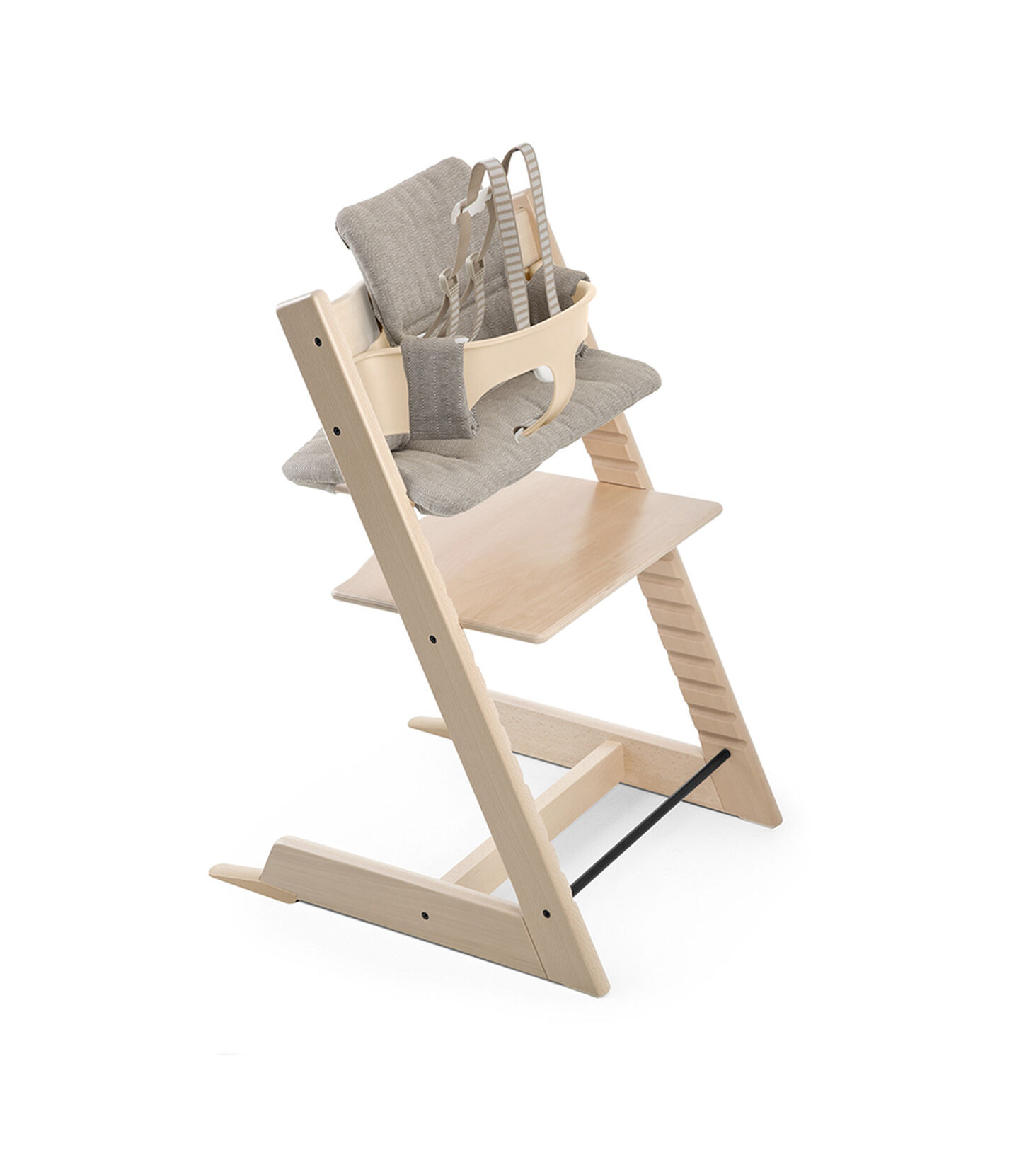 Tripp Trapp® Natural with Tripp Trapp® Baby Set, Natural and CushionHazy Tweed. US version.