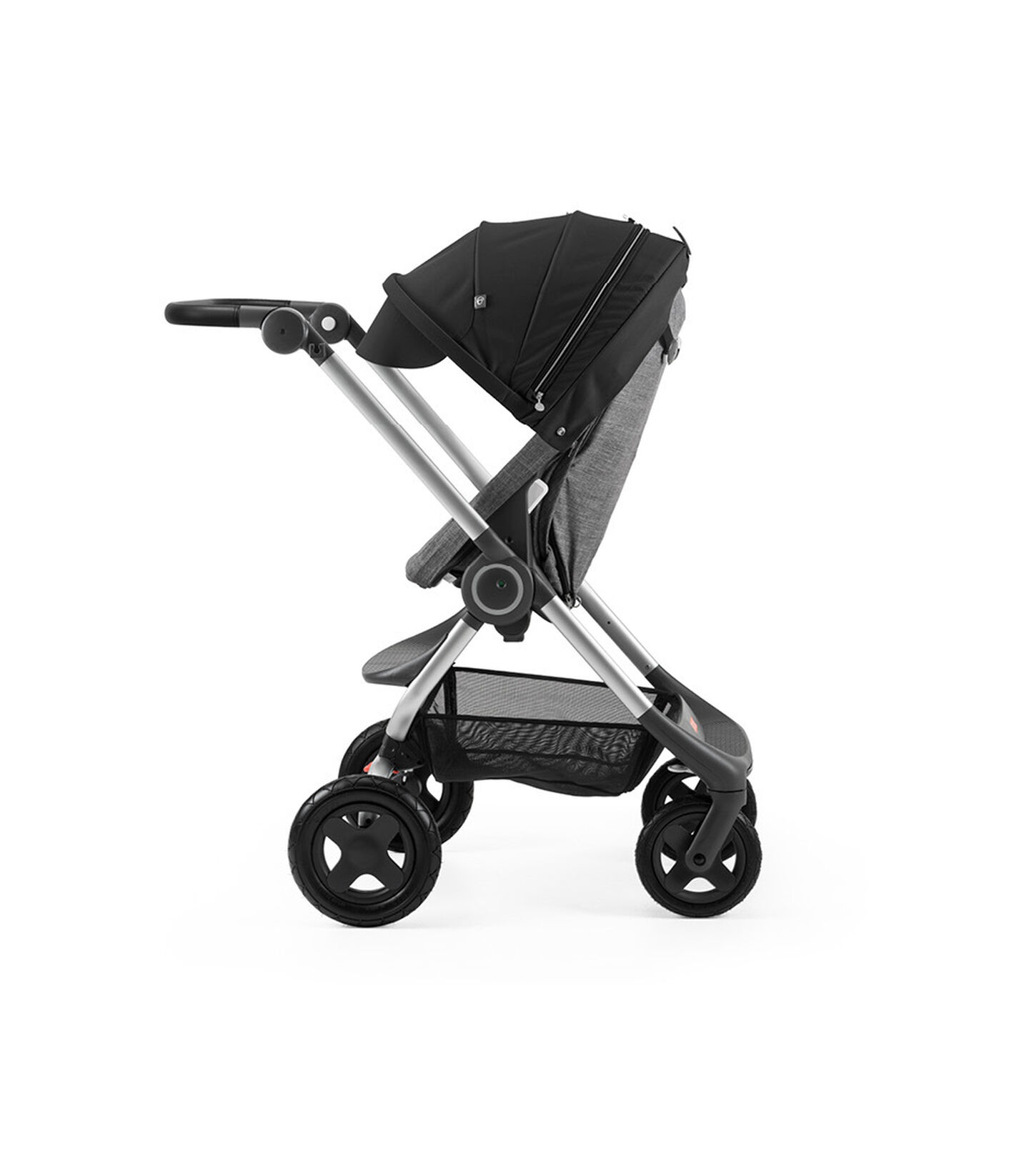 Stokke® Scoot™ Black Melange  with Black Canopy. Parent facing, active position.