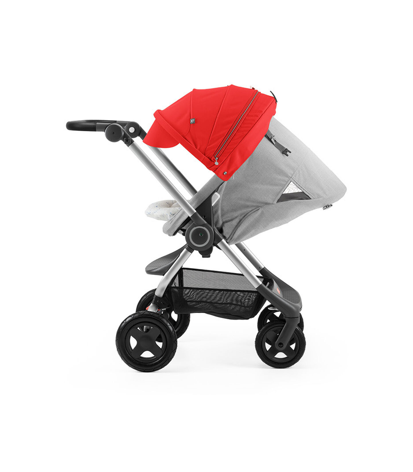 Stokke® Scoot™ with Grey Melange seat and Red Canopy. Parent Facing. Sleep position.
