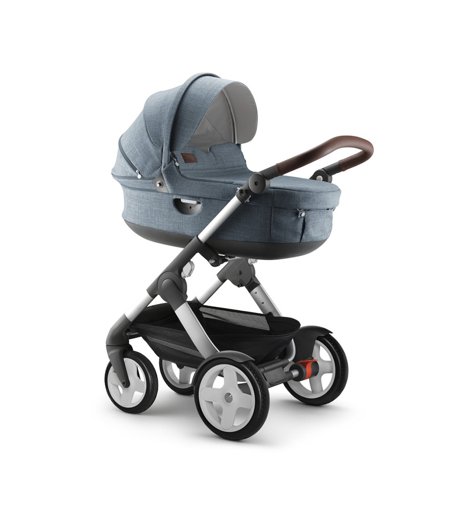 Stokke® Trailz™ Classic with Stokke® Stroller Carry Cot, Nordic Blue.