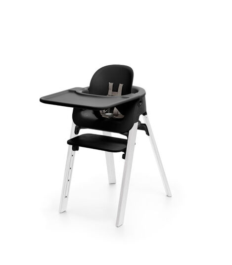 Stokke® Steps™ Chair Black Seat Oak White Legs, Oak White, mainview view 3