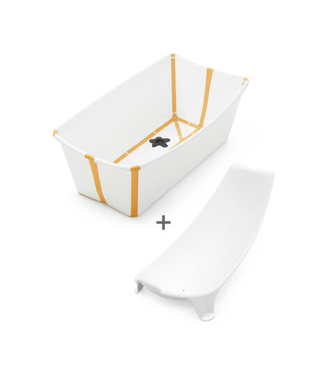 Stokke® Flexi Bath® Bundle - Bath Tub and Newborn Support, White Yellow.