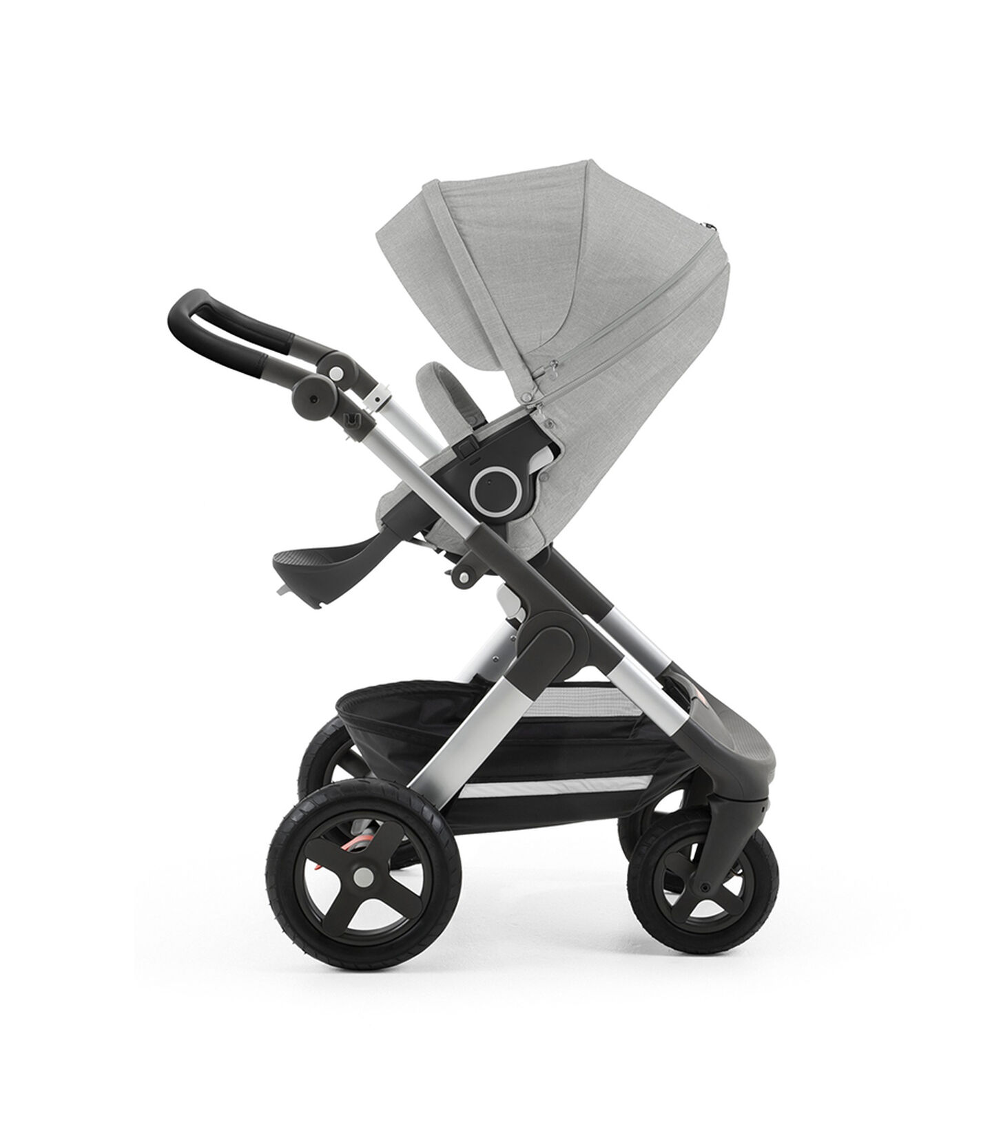 Stokke® Trailz™ with silver chassis and Stokke® Stroller Seat, Grey Melange. Leatherette Handle. Terrain Wheels. view 2