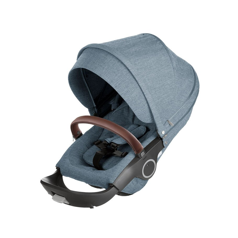 Stroller Seat Nordic Blue, Leatherette Handle Brown