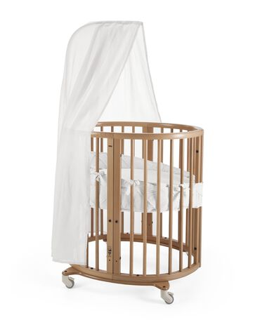 Stokke® Sleepi™ Mini, Natural. Bumper Classic White and Canopy White.