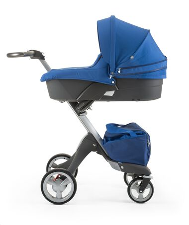 Stokke® Xplory® with Stokke® Stroller Carry Cot, Cobalt Blue.