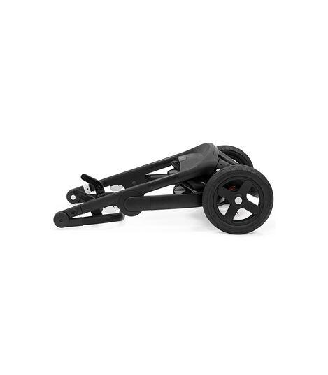 Stokke® Trailz™ Chassis Black with Black Leatherette Handle. Stokke® Stroller Seat, Black Melange. Sparepart.