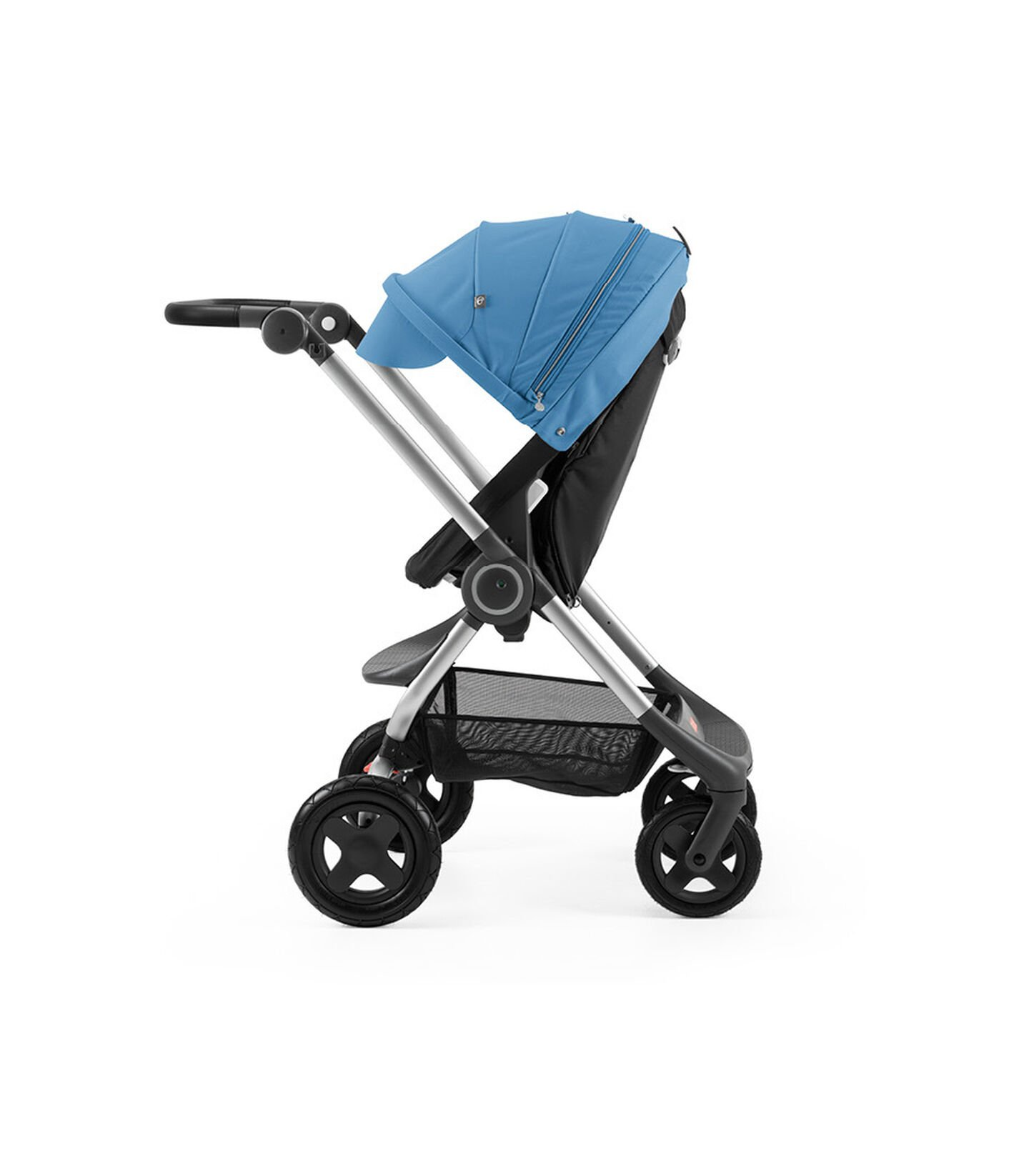 Stokke® Scoot™ Black with Blue Canopy. Parent facing, active position.