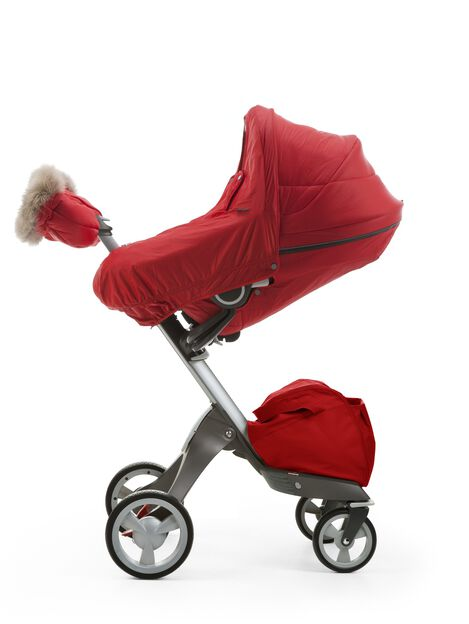 Stokke® Stroller Seat with Winter Kit, Red and Stokke® Xplory® Chassis.