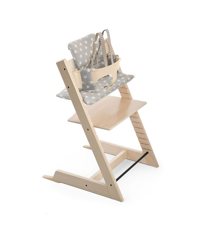 Tripp Trapp® Natural with Tripp Trapp® Baby Set, Natural and Cushion Grey Star. US version.