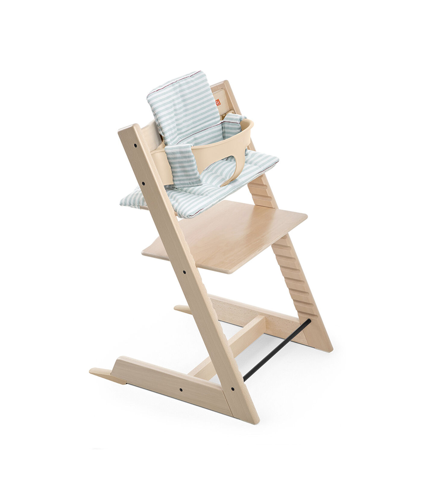 Tripp Trapp® Natural with Baby Set and Cushion Aqua Stripes.