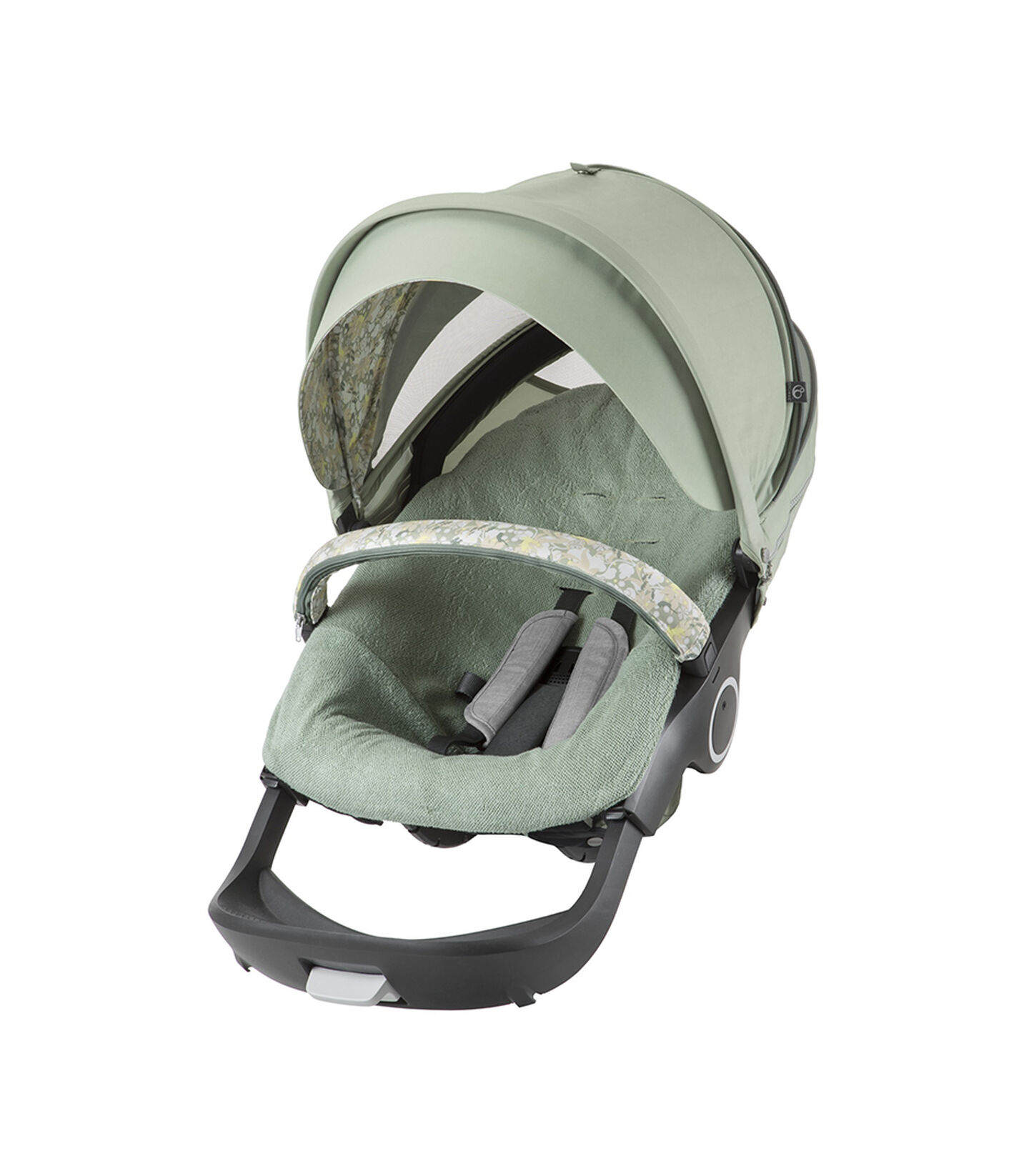Stokke® Stroller seat with Flora Green Summer Kit.