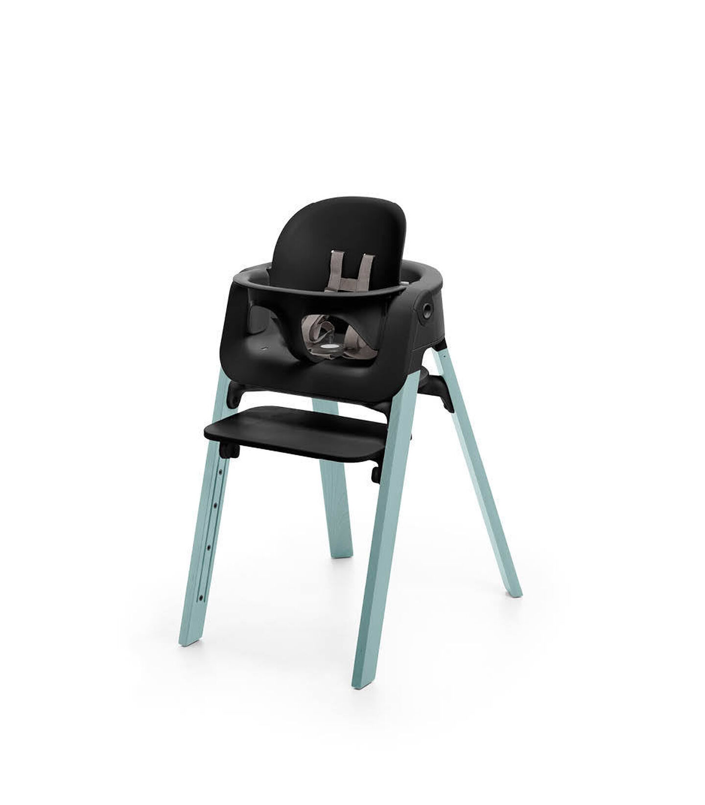 Stokke® Steps™ Aqua Blue chair with Baby Set Black.