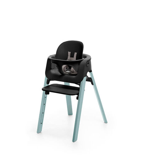 Stokke® Steps™ Aqua Blue chair with Baby Set Black.