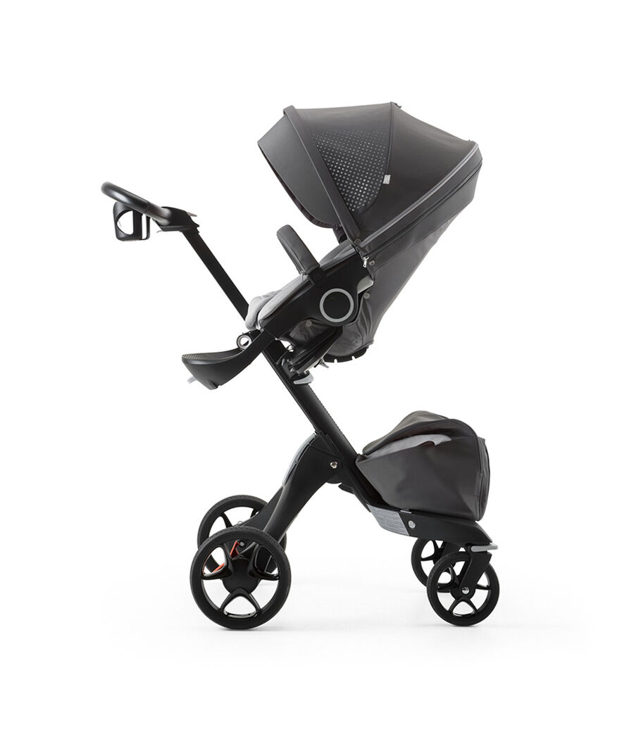 Stokke® Xplory® Black Chassis and Seat. Stroller Cup Holder. Athleisure Grey.
